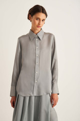 Oroton Manstyle Blouse in Mist Grey and 100% Cupro for female