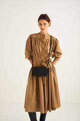 Oroton Long Sleeve Gathered Dress in Deep Olive and 100% Cotton for female