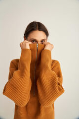 Oroton Rib Collar Knit in Turmeric and 100% Wool for female