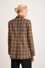 Oroton Check Blazer in Chocolate and 55% Polyester, 45% Cotton for female