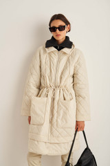 Oroton Quilted Parka in Bone and 100% Nylon for female