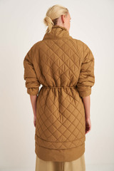 Oroton Quilted Parka in Golden Olive and 100% Nylon for female