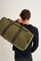 Oroton Bailey Gym Bag in Army/Hickory and Drill Cotton Canvas for male