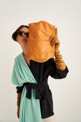 Oroton Celia Covered Day Clutch in Turmeric and Smooth Leather for female