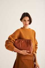 Oroton Celia Covered Day Clutch in Brandy and Smooth Leather for female