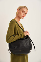 Oroton Brodie Soft Hobo in Black and Smooth Leather for female