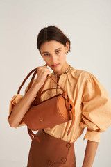 Oroton Brodie Soft Drum Bag in Brandy and Smooth Leather for female