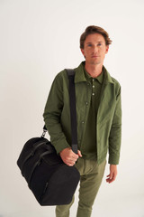 Oroton Bailey Gym Bag in Black and Drill Cotton Canvas for male