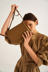 Oroton Birch Day Bag in Deep Olive and Smooth Leather for female