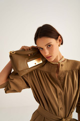 Oroton Heath Day Bag in Deep Olive and Smooth Leather for female