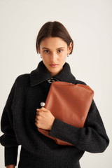 Oroton Nova Day Clutch in Brandy and Smooth Leather for female