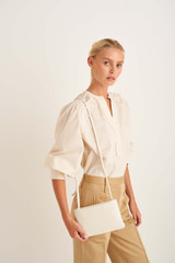 Oroton Heath Zip Crossbody in Clotted Cream and Smooth Leather for female