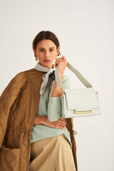 Oroton Elm Small Day Bag in Pale Topaz and Pebble Leather With Smooth Leather Trim for female