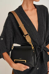Oroton Georgie Bag Strap in Deep Olive/Black and Smooth Leather/Webbing Strap for female