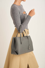Oroton Margot Medium Day Bag in Deep Grey and Pebble Leather for female