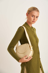 Oroton Ember Saddle Bag in Pale Blonde and Pebble Leather for female