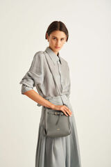 Oroton Margot Mini Bucket Bag in Deep Grey and Pebble Leather for female