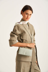 Oroton Heath Wallet Crossbody in Greystone and Smooth Leather for female