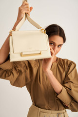 Oroton Elm Small Day Bag in French Vanilla and Pebble Leather With Smooth Leather Trim for female