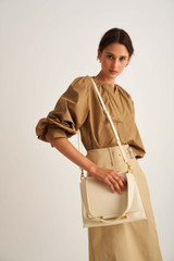 Oroton Elm Medium Day Bag in French Vanilla and Pebble Leather With Smooth Leather Trim for female