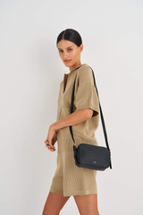 Oroton Margot Zip Around Crossbody in Black and Pebble Leather for female