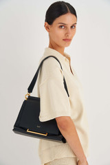 Oroton Elm Medium Day Bag in Black and Pebble Leather With Smooth Leather Trim for female