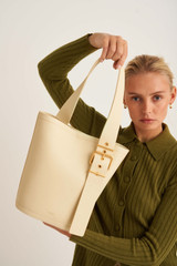 Oroton Ember Large Bucket in Pale Blonde and Pebble Leather for female