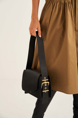 Oroton Ember Day Bag in Black and Pebble Leather for female