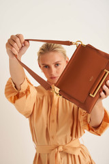 Oroton Elm Small Day Bag in Brandy and Pebble Leather With Smooth Leather Trim for female