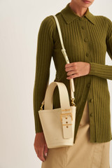 Oroton Ember Bucket in Pale Blonde and Pebble Leather for female