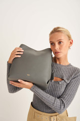 Oroton Margot Hobo in Deep Grey and Pebble Leather for female