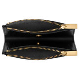 Oroton Elm 10 Credit Card Zip Wallet in Black and Pebble Leather With Smooth Leather Trim for female