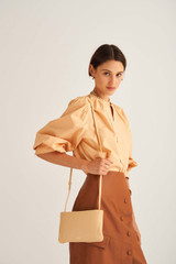 Oroton Heath Zip Crossbody in Mango and Smooth Leather for female