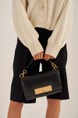 Oroton Heath Day Bag in Black and Smooth Leather for female