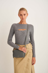 Oroton Margot Zip Around Crossbody in Deep Grey and Pebble Leather for female