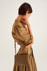 Oroton Heath Zip Crossbody in Deep Olive and Smooth Leather for female