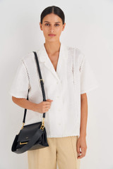 Oroton Elm Small Day Bag in Black and Pebble Leather With Smooth Leather Trim for female