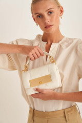 Oroton Heath Mini Day Bag in Clotted Cream and Smooth Leather for female