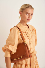 Oroton Elm Medium Day Bag in Brandy and Pebble Leather With Smooth Leather Trim for female