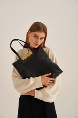 Oroton Heath Tote in Black and Smooth Leather for female