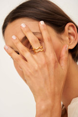 Oroton Zabel Thin Ring Set in Gold and Brass Base Metal With Precious Metal Plating for female