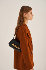 Oroton Tilda Small Day Bag in Black and Pebble Leather for female