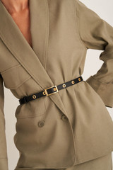 Oroton Vera Skinny Belt in Black and Smooth Leather for female