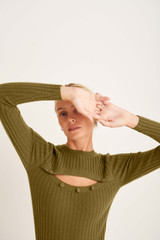 Oroton Button Front Crew Knit in Deep Olive and 100% Wool for female