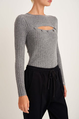 Oroton Button Front Crew Knit in Grey Marle and 100% Wool for female