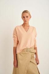 Oroton V-Neck Knit in Pale Mango and 100% Wool for female