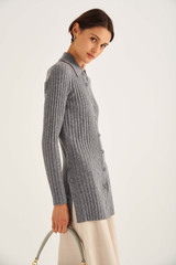 Oroton Long Rib Knit Polo in Grey Marle and 100% Wool for female