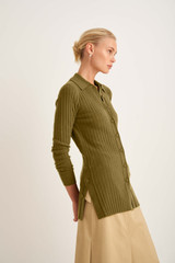 Oroton Long Rib Knit Polo in Deep Olive and 100% Wool for female