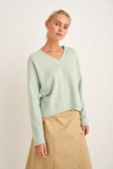Oroton V-Neck Knit in Pale Topaz and 100% Wool for female