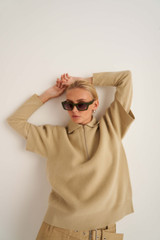Oroton Boxy Knit Polo Top in Sandstone and 100% Wool for female